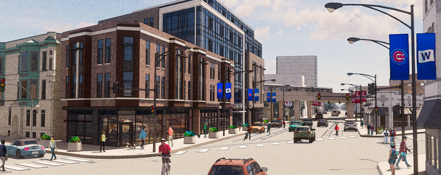 Artist's rendering of view down Clark Street after project