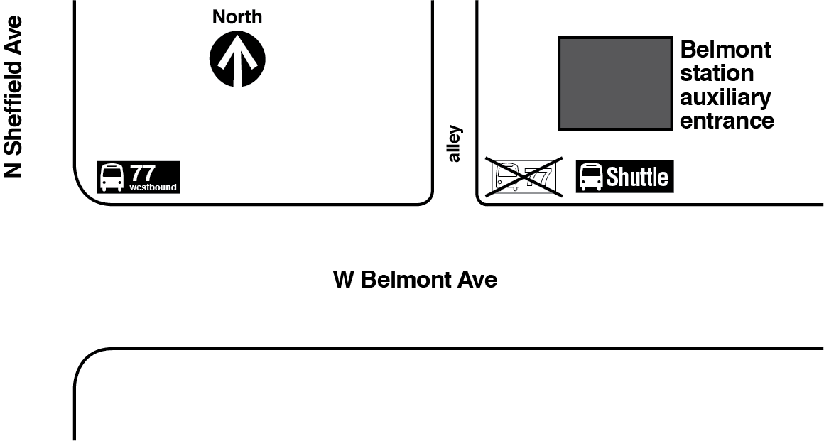 Map showing westbound route 77 bus stop relocated from in front of the Belmont Red and Brown lines station auxiliary entrance to the northeast corner of Belmont Avenue and Sheffield Avenue.
