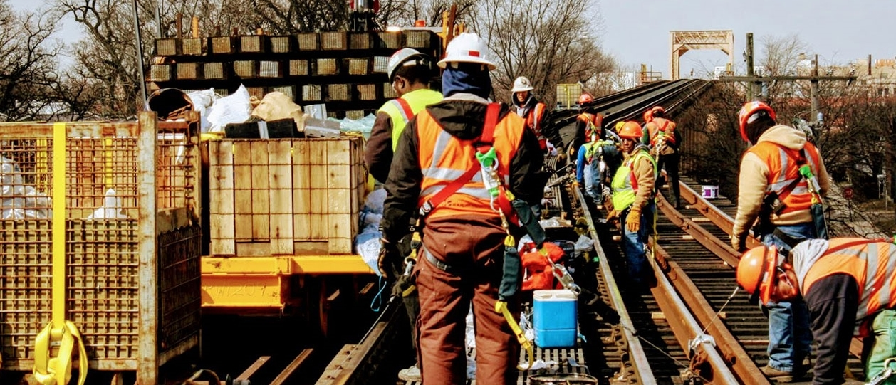 Workers renew tracks on the Green Line in Englewood
