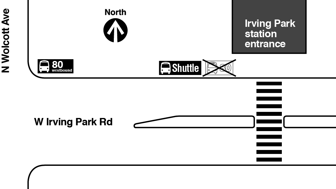Map showing westbound route 80 bus stop relocated from in front of the Irving Park Brown Line station entrance to the northeast corner of Irving Park Road and Wolcott Avenue.