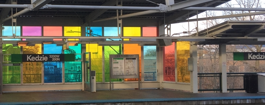 "Once clear glass panels along the Kedzie Green Line replaced with bright, multi-color art glass as part of the ""Kedzie Jewel"" art installation"