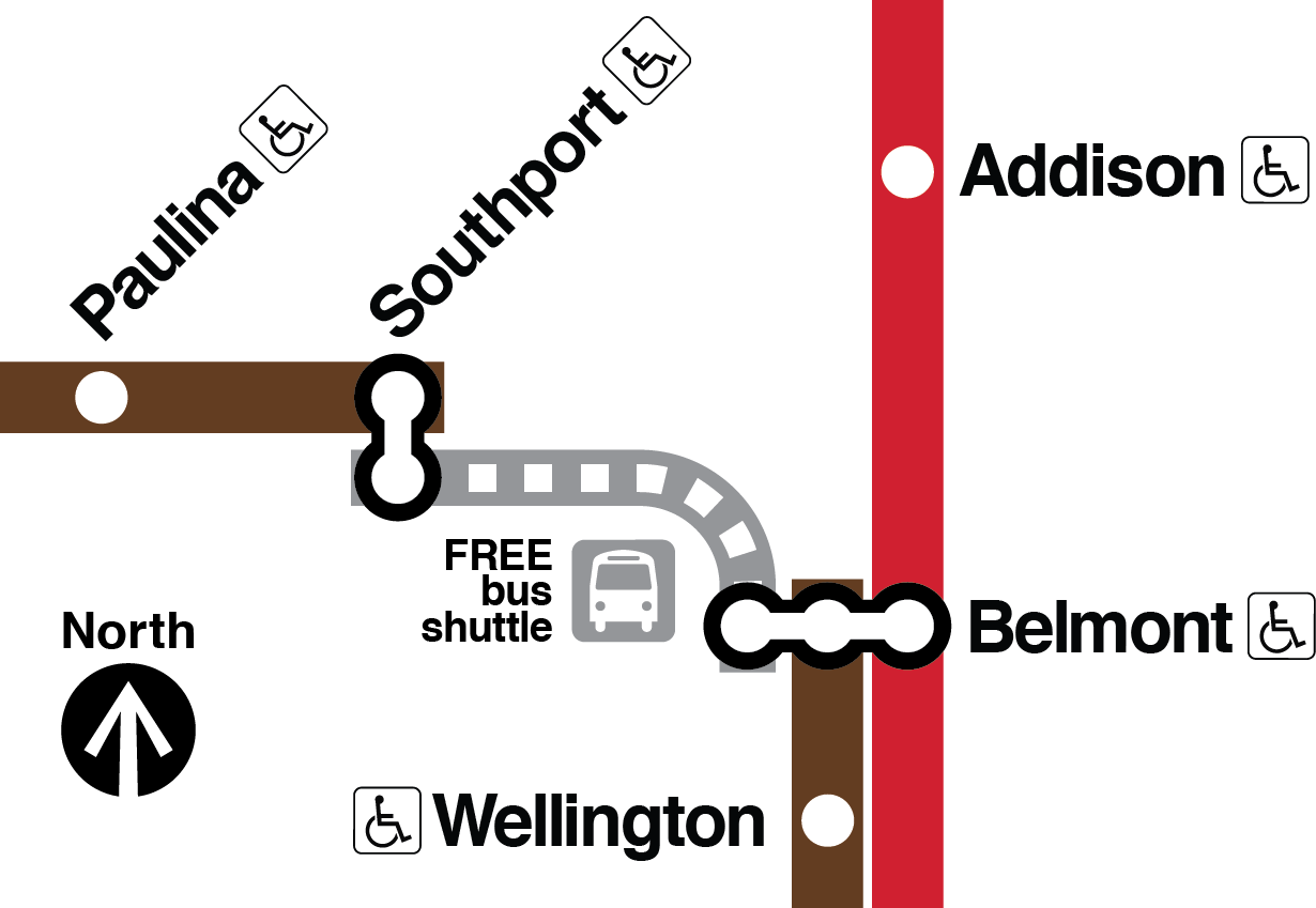 Map showing no Brown Line train service e between Belmont and Southport, with free shuttle buses replacing rail service there. Brown Line trains operate between Kimball and Southport and between Belmont and the Loop.