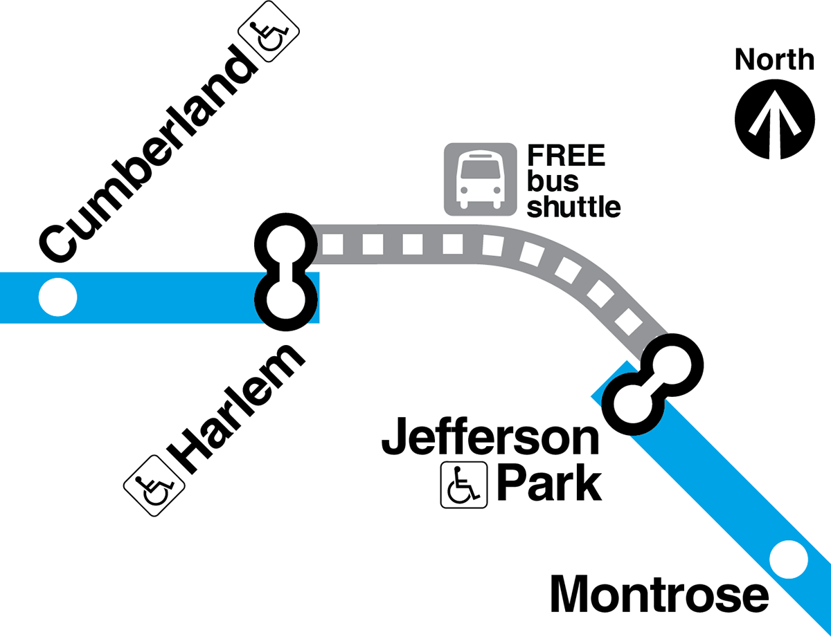 Map showing free bus shuttle service replacing Blue Line trains between Jefferson Park and Harlem O'Hare branch stations. Both stations are accessible to customers with disabilities.