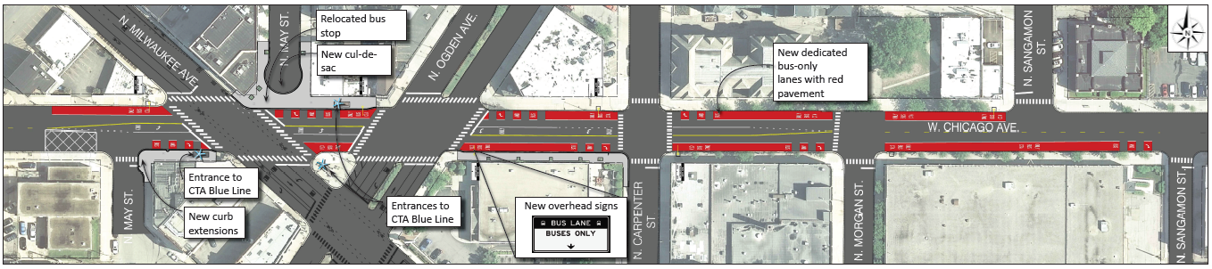 Overview of street changes being made along Chicago Avenue between Sangamon and May