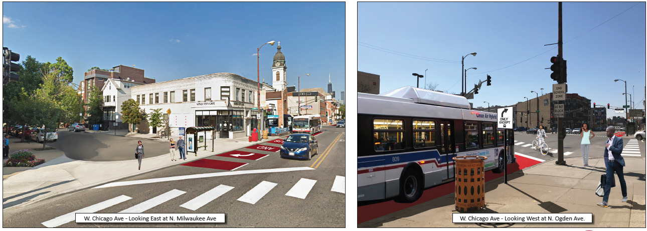 Artist renderings of enhanced bus lanes and pedestrian waiting areas at the Chicago/Milwaukee/Ogden intersection.
