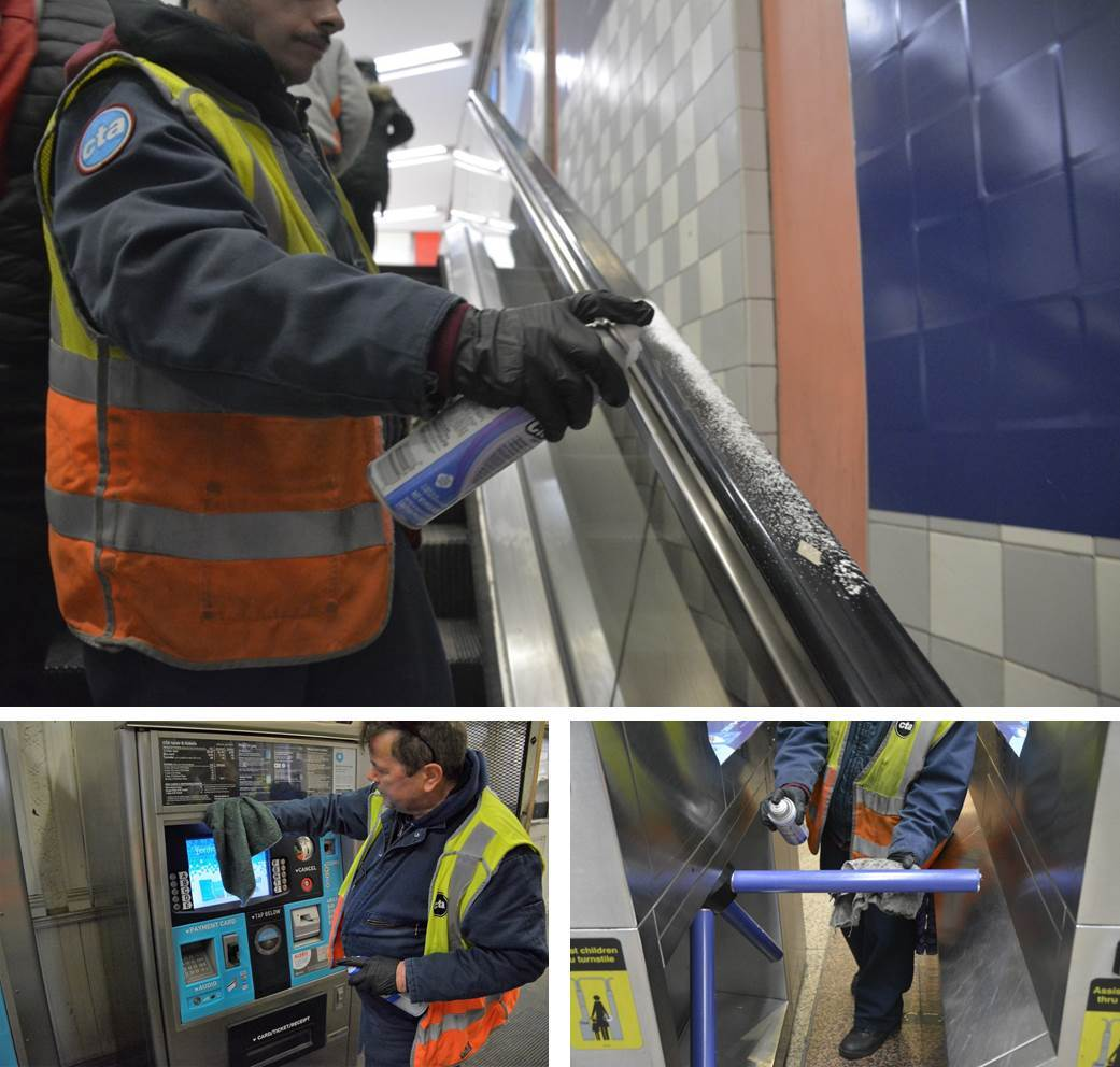 Three images showing CTA personnel cleaning escalator handrail, turnstile bars and Ventra vending machine.