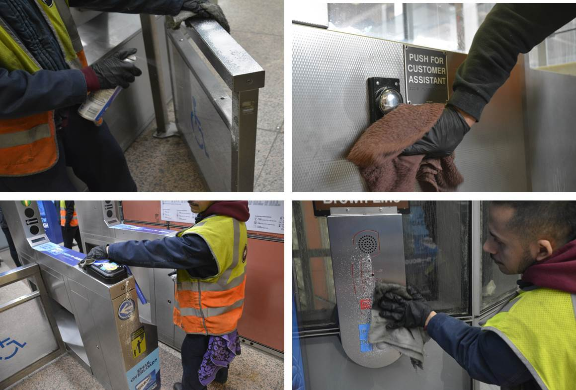 Some of the common station areas disinfected as part of daily cleanings: fare gate, customer assistance button, farecard readers.