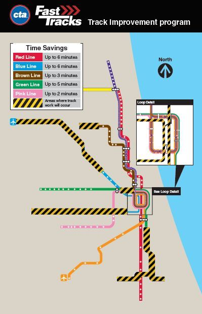 Fast Tracks improvements map (notes savings on Red Line of up to 6 min, Blue 6 min, Brown 3 min, Green 3 min, Pink 2 min and highlights portions of routes where work will occur)