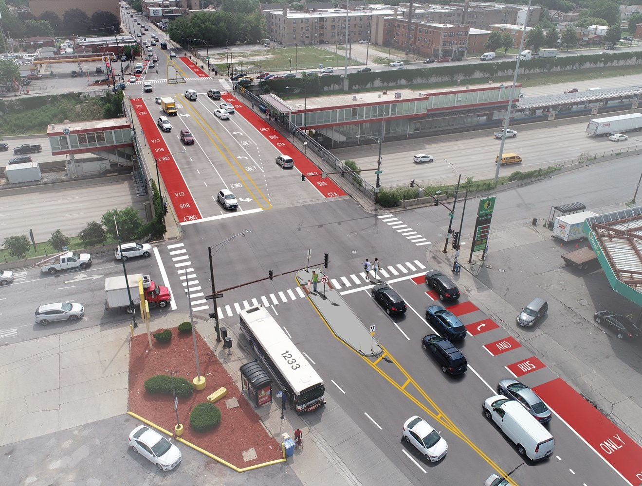 Rendering showing aerial view of improvements planned for 79th Street near the Red Line.