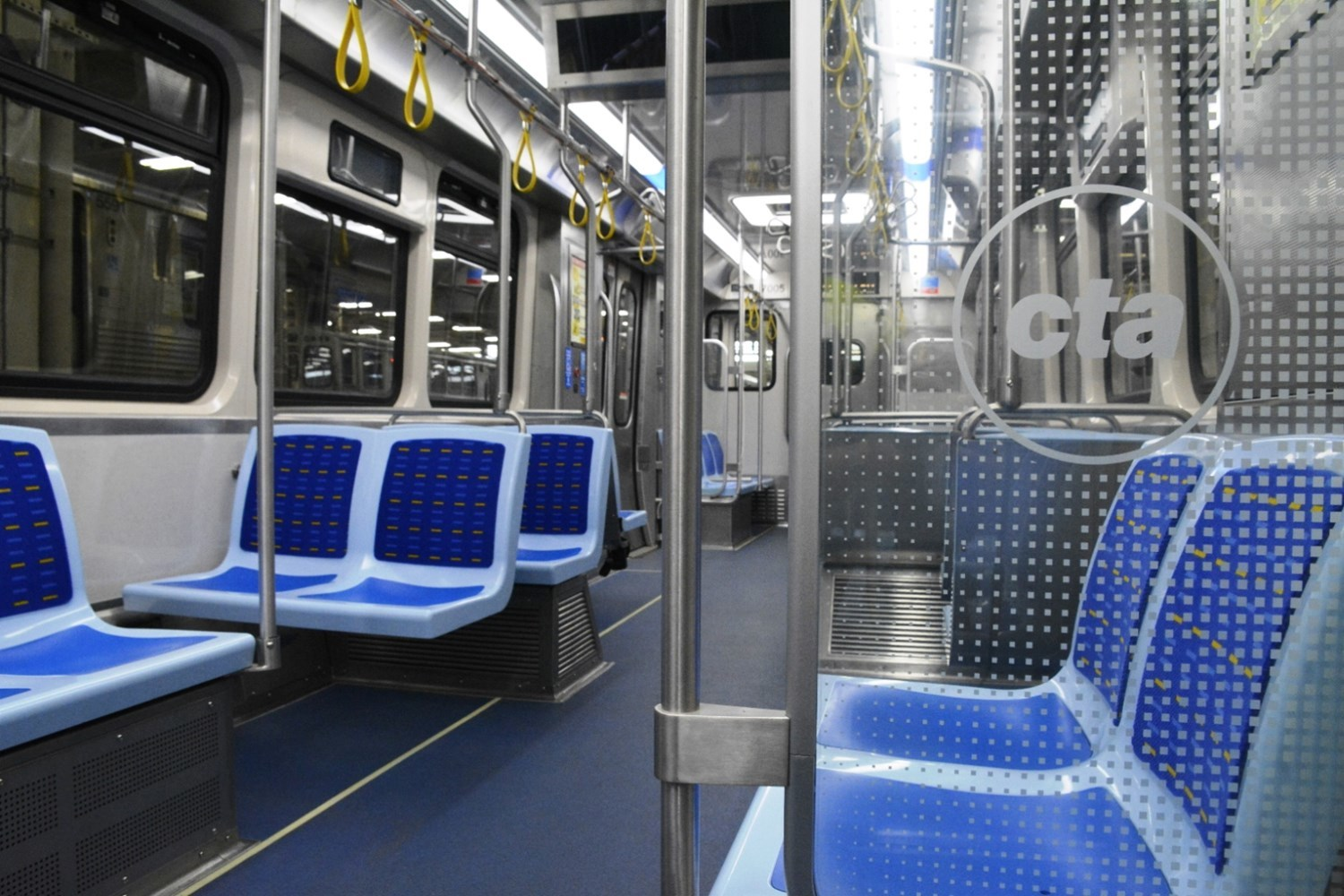 Interior view of new 7000-series railcars