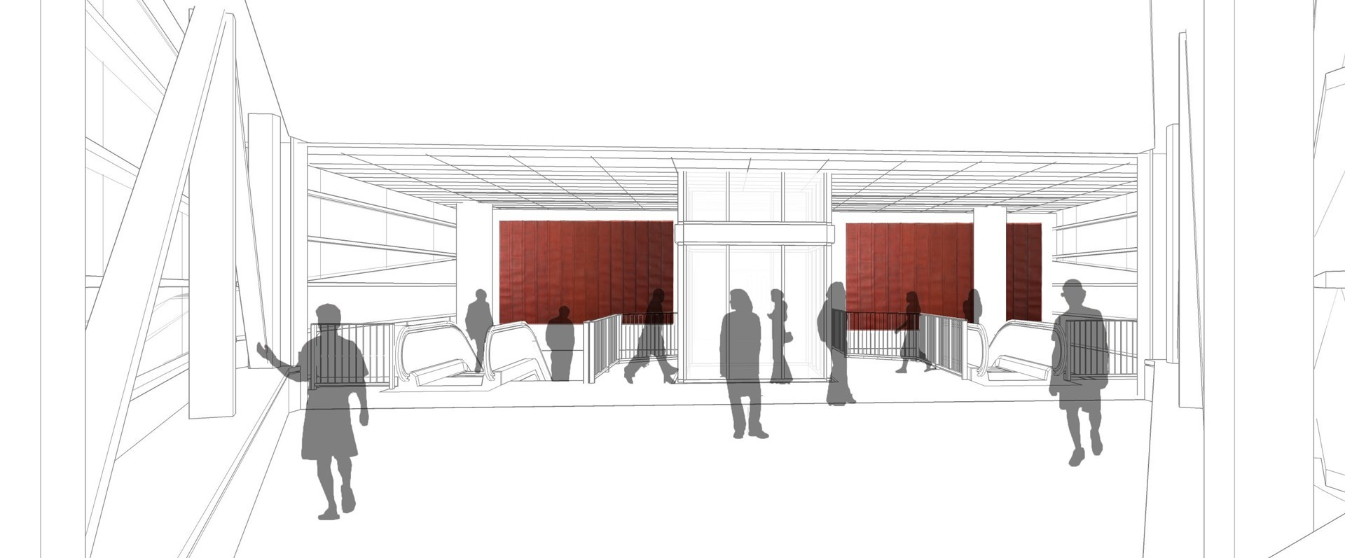 Artist Theaster Gates' conceptual rendering of america, america – the new public art planned for the south terminal building at the 95th Street Red Line station.