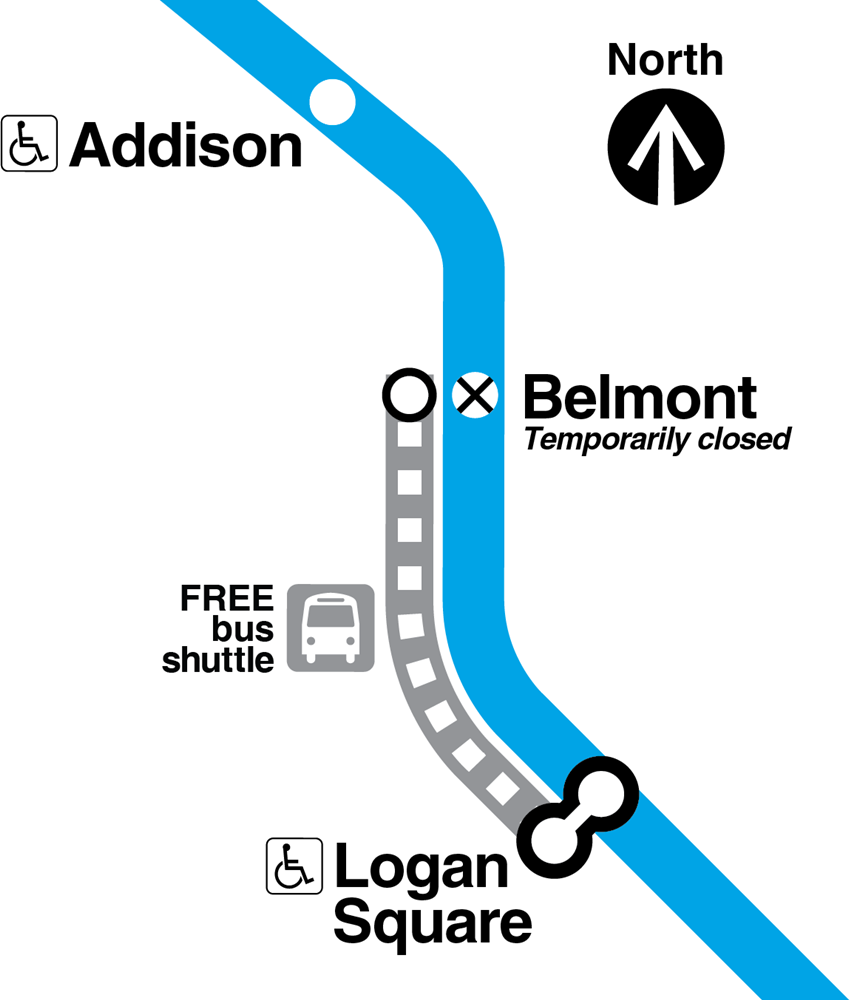Map showing Belmont Blue Line station closed, and a free bus shuttle running from Logan Square station to Belmont station.