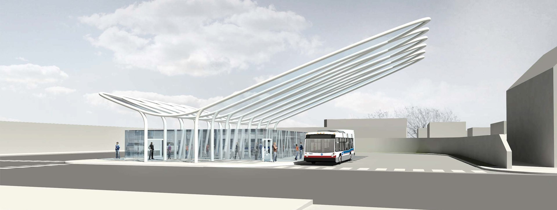 Conceptual rendering of new architectural canopy at Belmont Blue Line
