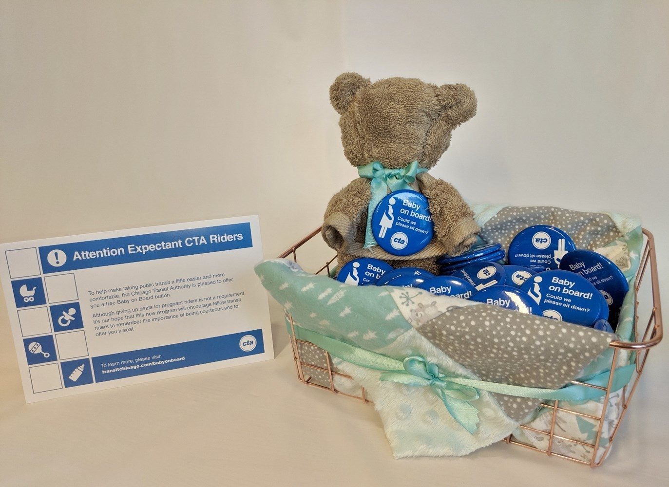 CTA Baby on Board promotional baskets at partnering local hospitals.