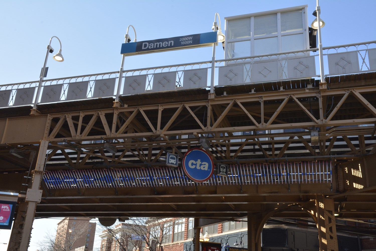 The interactive, LED screen artowork known as Soundtrack can be seen on the north side of the Damen Blue Line viaduct.