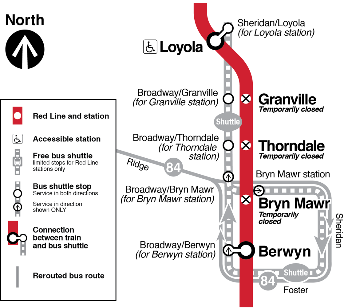 Map showing Granville, Thorndale and Bryn Mawr Red Line stations temporarily closed. Free bus shuttle, connecting to Red Line at Loyola (accessible) and Berwyn stations, makes limited stops at or near closed Granville, Thorndale and Bryn Mawr stations. 84 Peterson bus is rerouted eastbound via Ridge, Bryn Mawr, Sheridan, Foster and Broadway to Berwyn; westbound via Broadway and Ridge; connect directly between 84 buses and Red Line trains at Berwyn station (board/exit buses at Broadway/Berwyn),