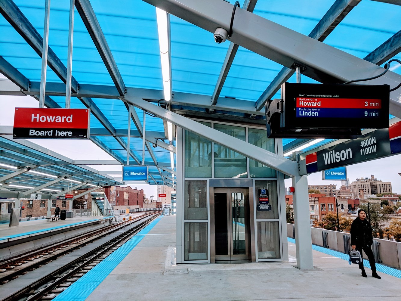 Platform elevator at the new Wilson Red/Purple Line transfer station