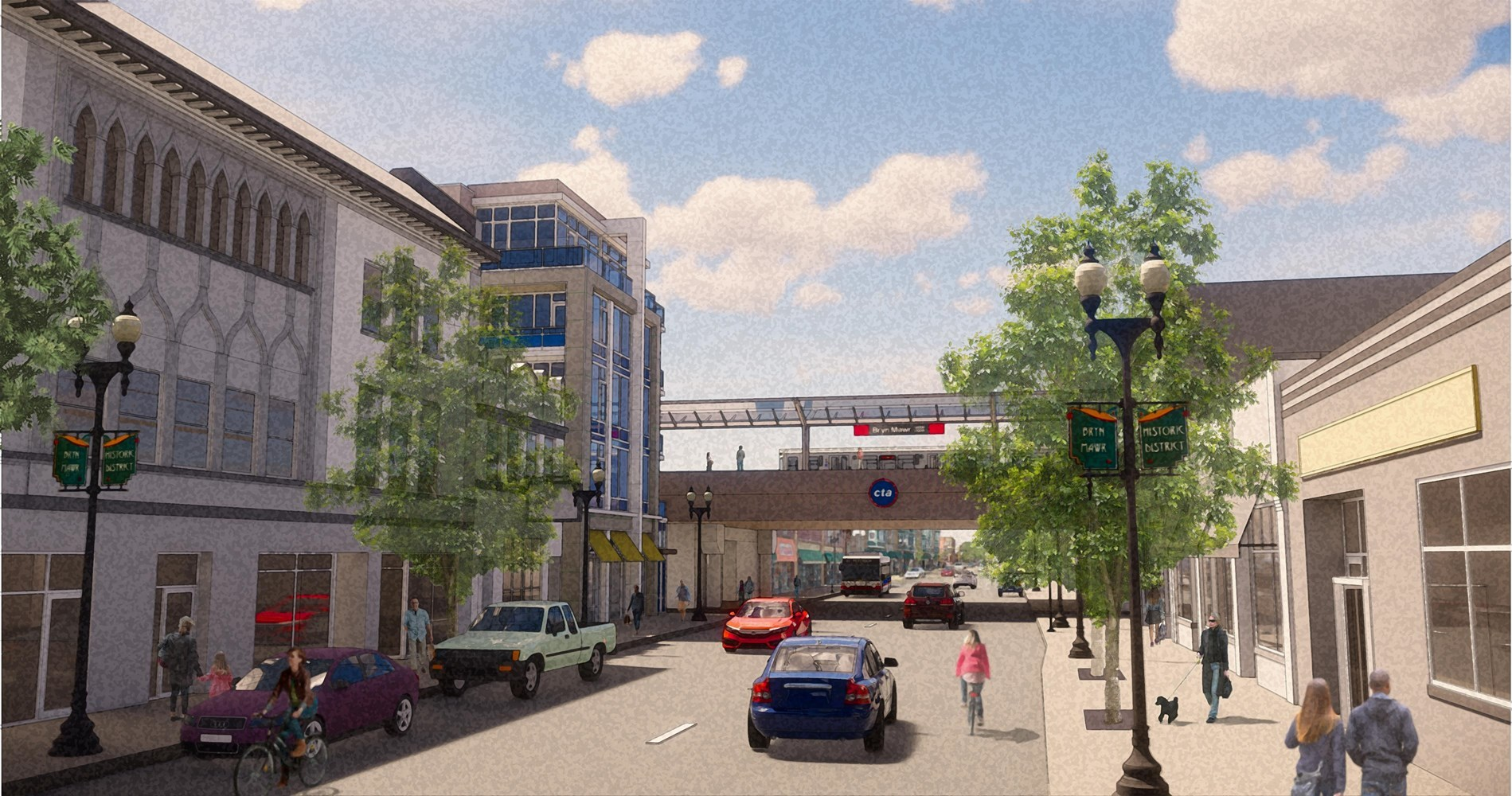Proposed conceptual rendering of area redevelopment along Bryn Mawr Avenue looking west from Winthrop Avenue.