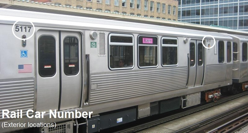 Rail Car Number (Exterior locations)