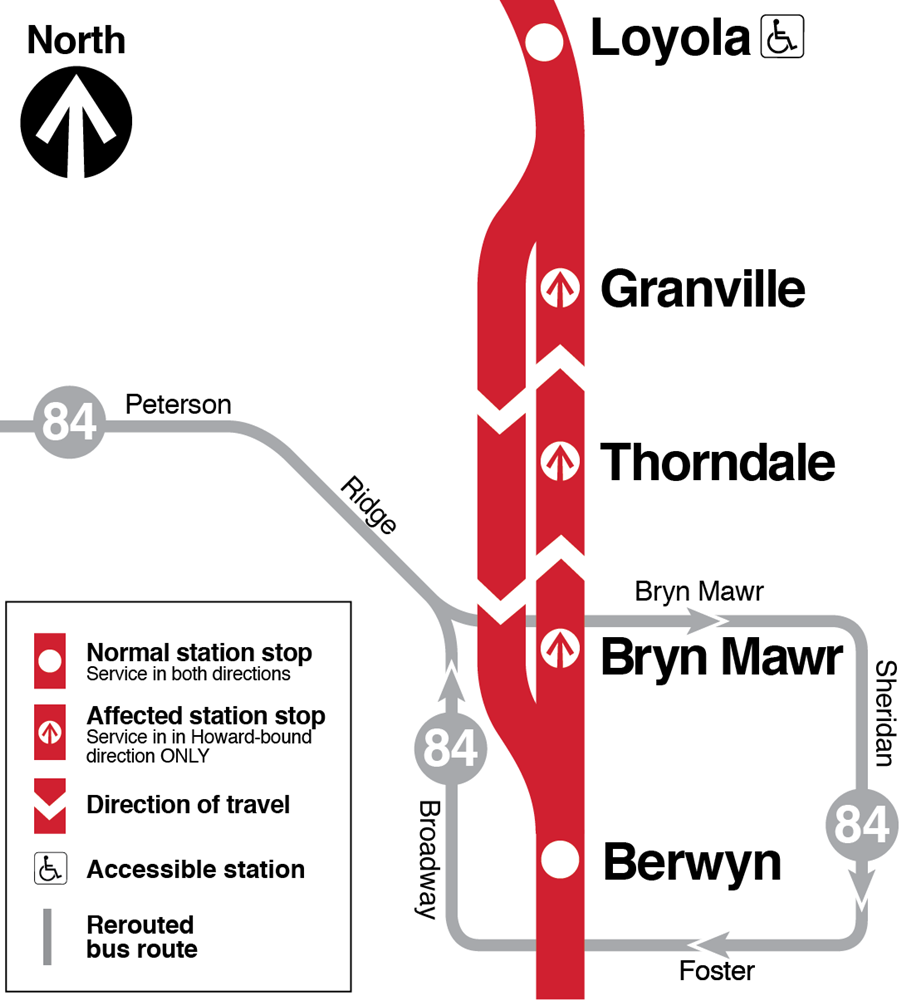 Map shows 95th-bound trains bypassing Granville, Thorndale and Bryn Mawr stations; Howard-bound trains make all stops. Route 84 Peterson buses rerouted to Berwyn station to connect to trains in both directions, in addition to connecting to Bryn Mawr station.