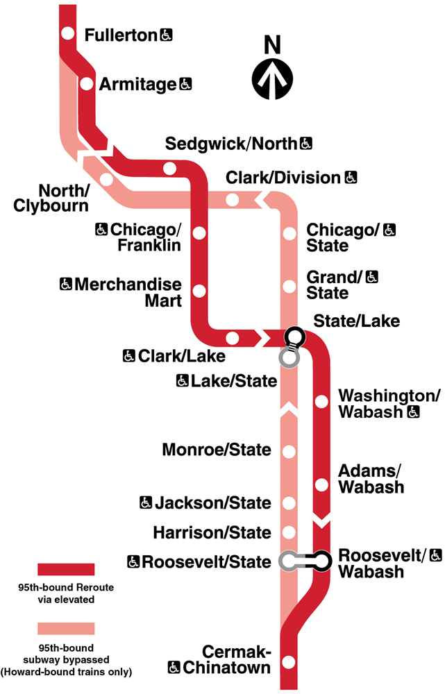 Map showing Red Line service toward 95th rerouted via the elevated lines, following a route from Armitage through Mart on the Brown Line, then Lake and Wabash sides of the Loop and the Roosevelt elevated before rejoining normal Howard-bound service at Cermak-Chinatown, with transfers at State/Lake and Roosevelt.