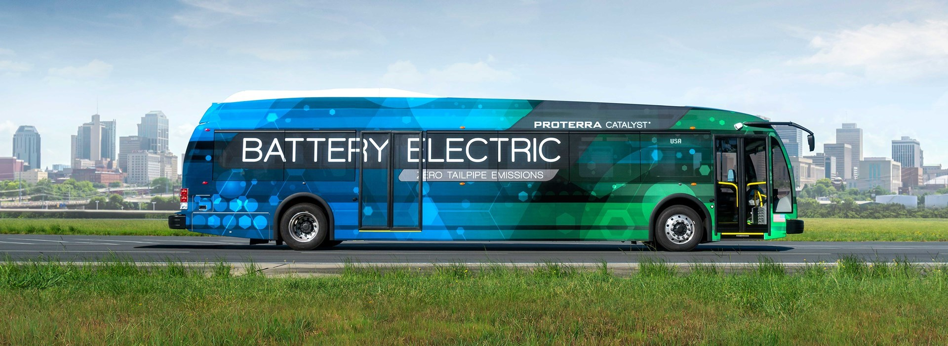 Exterior of new, all-electric buses CTA is purchasing from Proterra