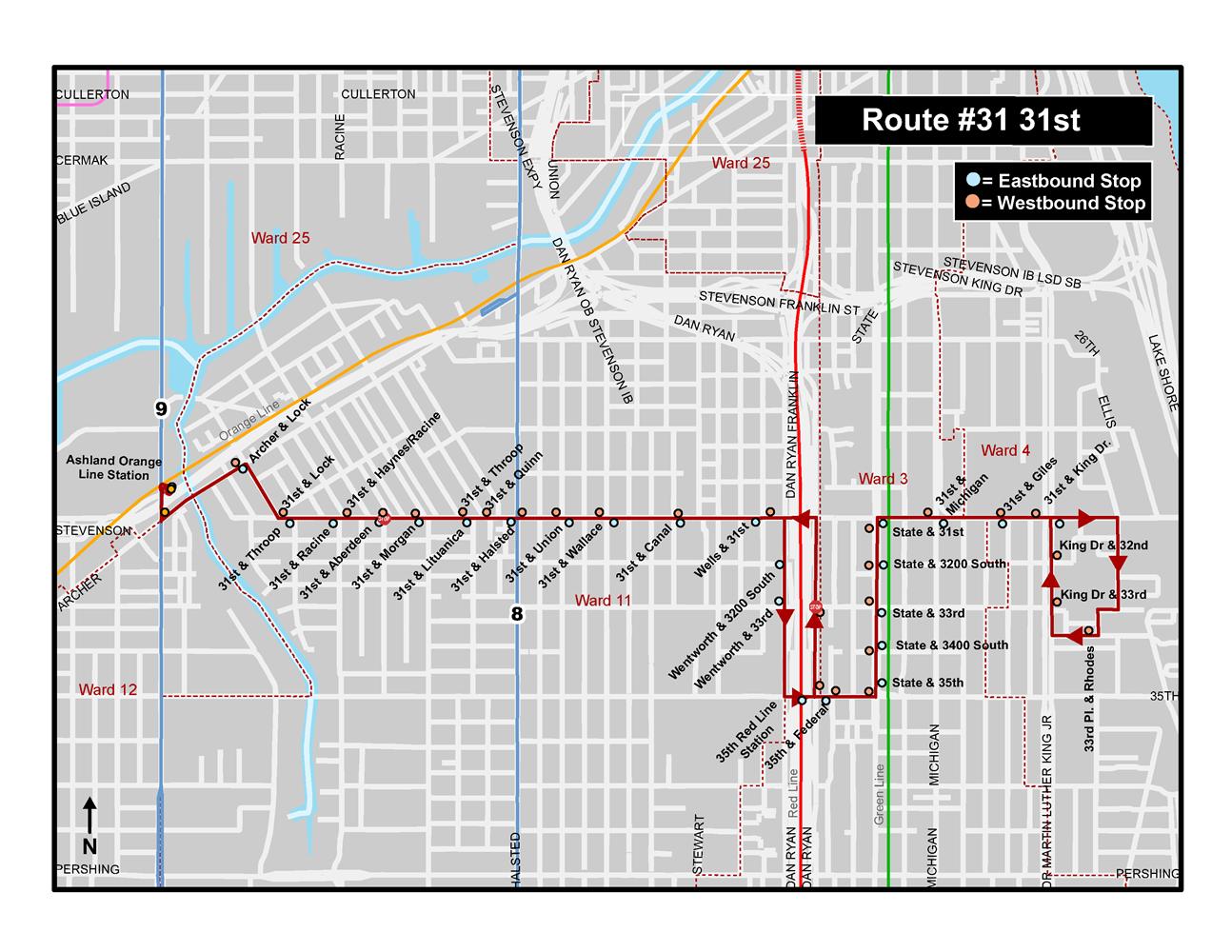 Sitetransitchicagocom Chicago Subway Map.31st Bus Route Pilot Improvement Projects Cta