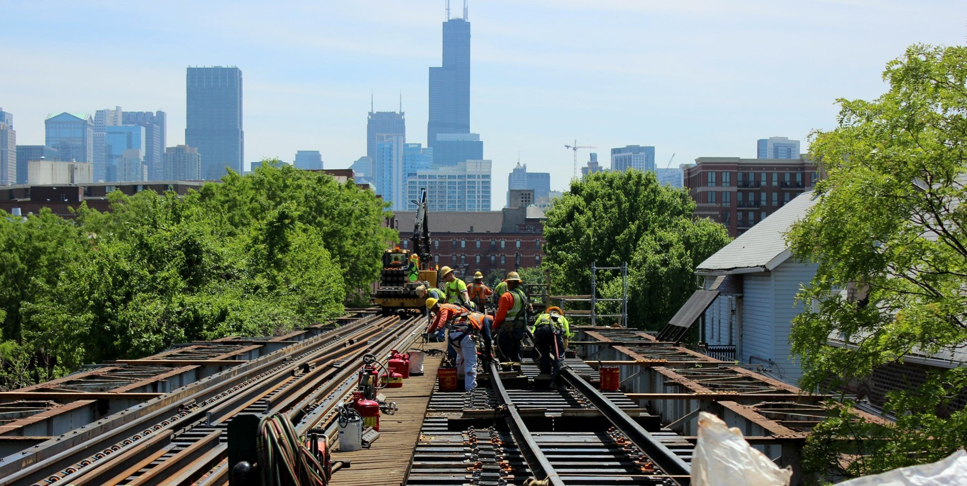 Crews renewing track on the Ravenswood-Loop Connector