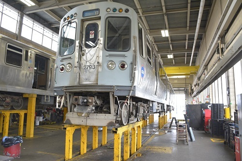 Train in the shop for maintenance