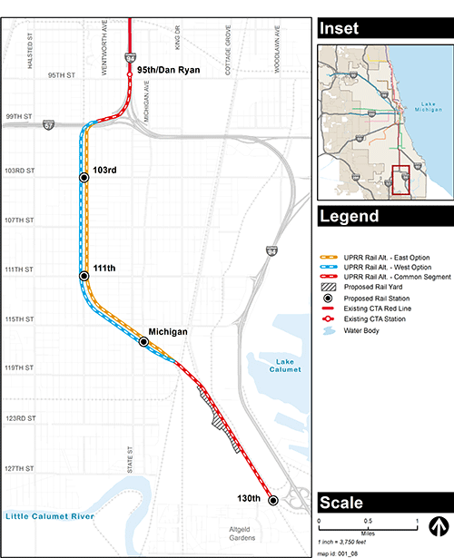 Red Line Extenstion Alternatives Map