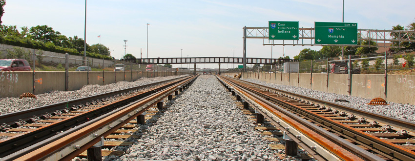 Completely rebuilt tracks on the Dan Ryan Line