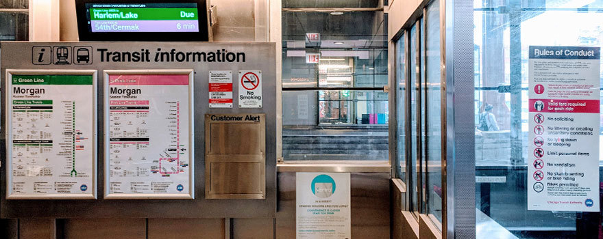 Station information with Rules of Conduct sign in booth
