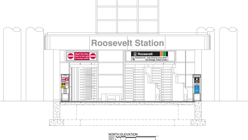 Rendering of north elevation of new station house