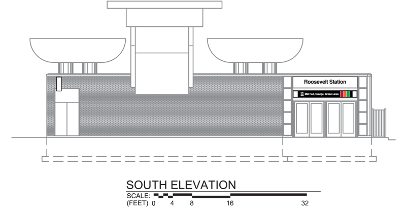 rendering of main station house south elevation