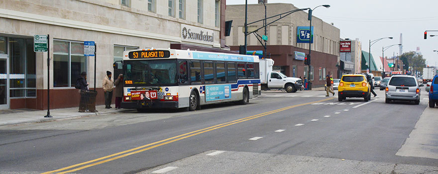 A 53 Pulaski bus on the West Side